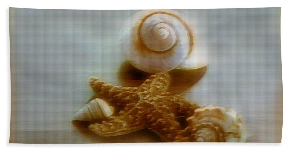 Beach Art Bath Sheet featuring the photograph Star And Shells by Linda Sannuti