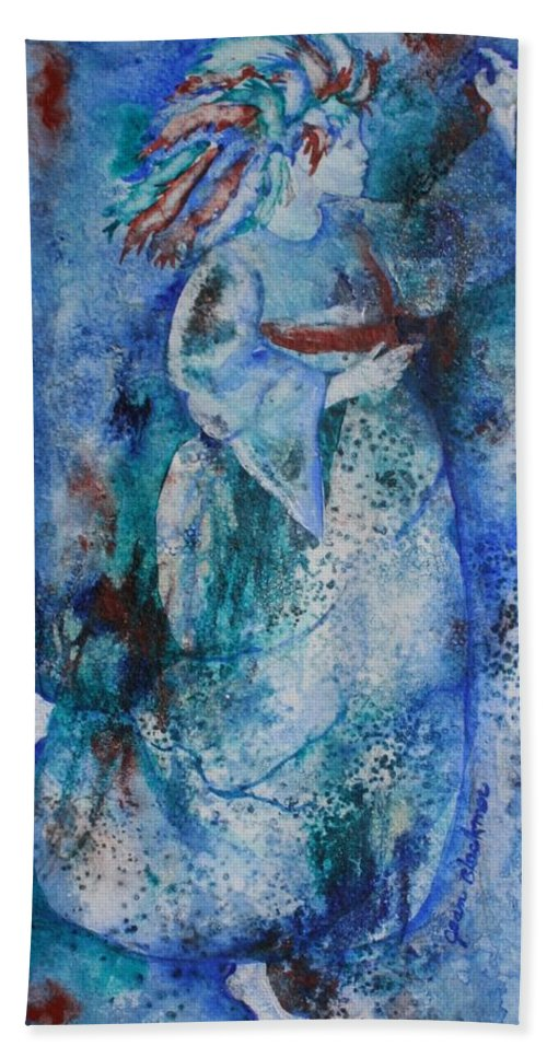 Abstract Hand Towel featuring the painting Star Dancer by Jean Blackmer