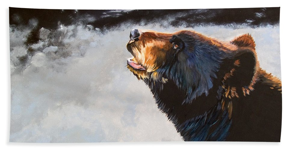 Bear Bath Sheet featuring the painting Star Gazer by J W Baker