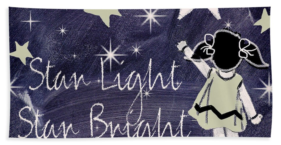Star Light Star Bright Bath Sheet featuring the painting Star Light Star Bright Chalk Board Nursery Rhyme by Mindy Sommers
