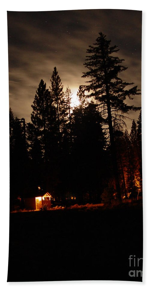 Moonlight Bath Towel featuring the photograph Star Lit Camp by Peter Piatt