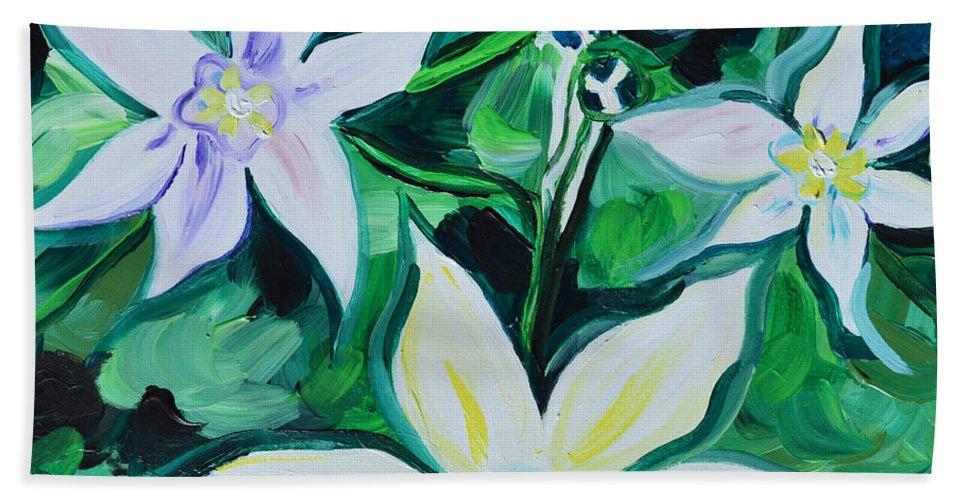 Star Bath Sheet featuring the painting Star Of The Garden by Carlye Daugird