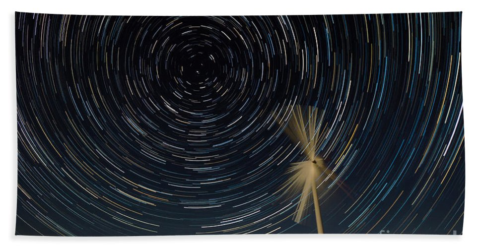 Kansas Bath Sheet featuring the photograph Star Trail In Hays, Ks by Willard Sharp