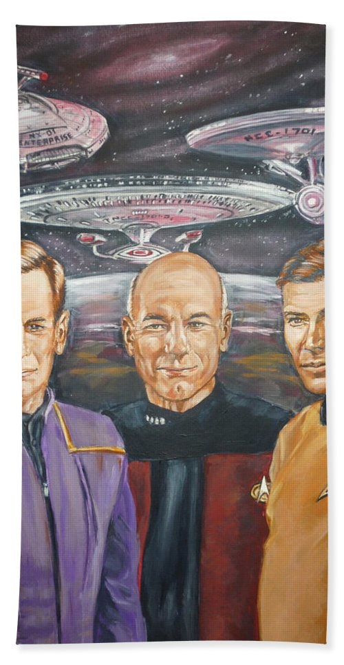 Star Trek Hand Towel featuring the painting Star Trek Tribute Enterprise Captains by Bryan Bustard