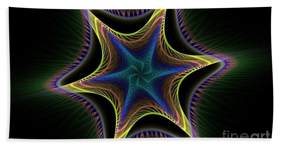 Apophysis Hand Towel featuring the digital art Star Twist Spiral by Deborah Benoit