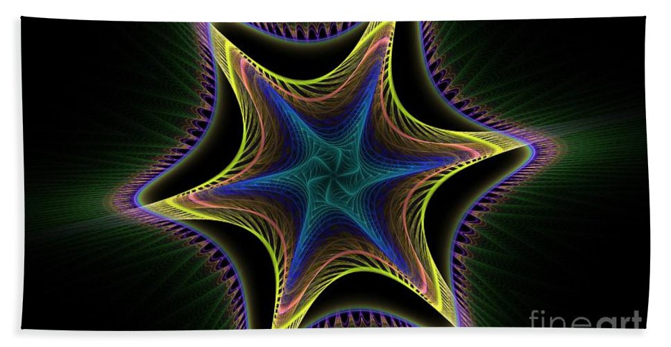 Apophysis Bath Sheet featuring the digital art Star Twist Spiral by Deborah Benoit
