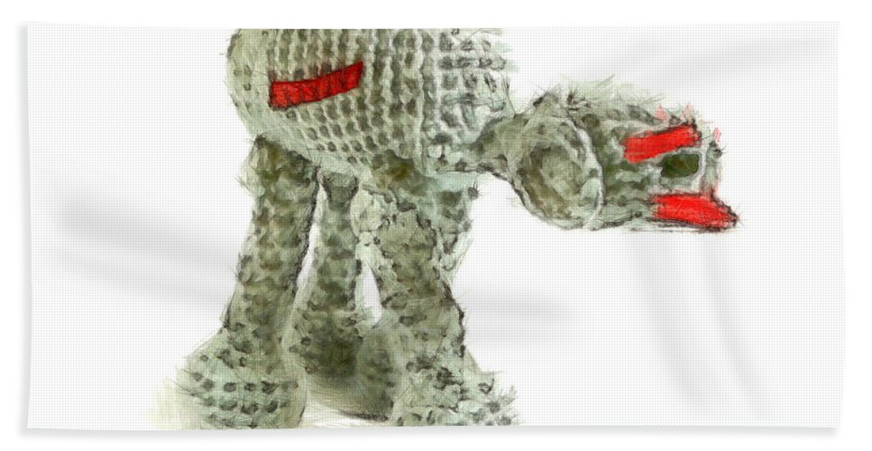 Animal Hand Towel featuring the painting Star Wars Combat Crochet Armoured Vehicle by Leonardo Digenio