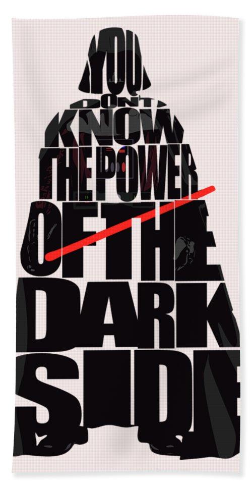 Darth Vader Hand Towel featuring the digital art Star Wars Inspired Darth Vader Artwork by Inspirowl Design