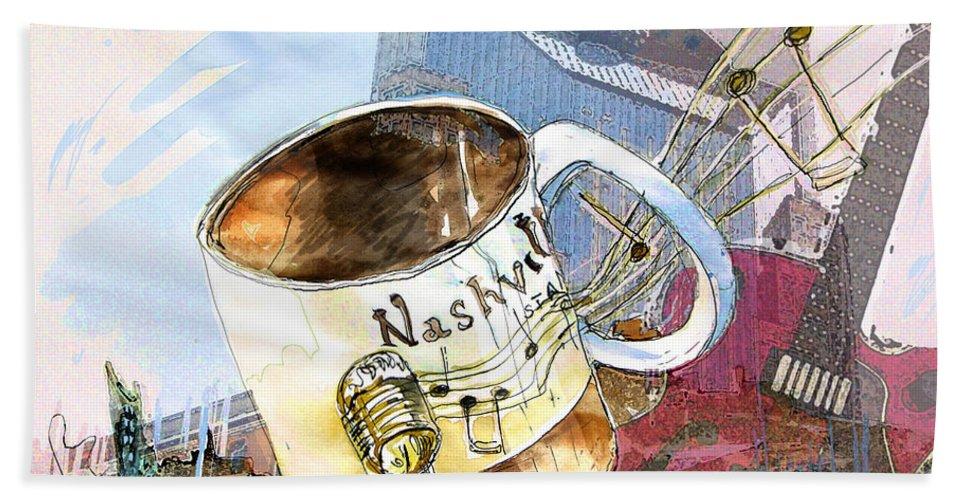 Mugs Bath Sheet featuring the painting Starbucks Mug Nashville by Miki De Goodaboom
