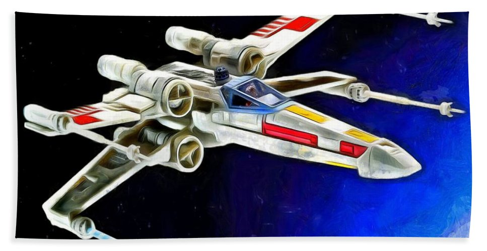 Starfighter Hand Towel featuring the digital art Starfighter X-wings - Da by Leonardo Digenio