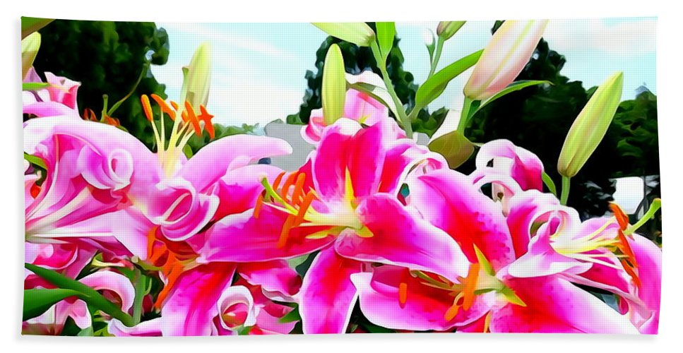 Abstract Bath Sheet featuring the photograph Stargazer Lilies #1 by Ed Weidman