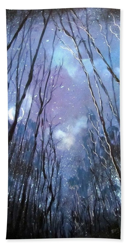 Landscape Hand Towel featuring the painting Starlight by Barbara O'Toole