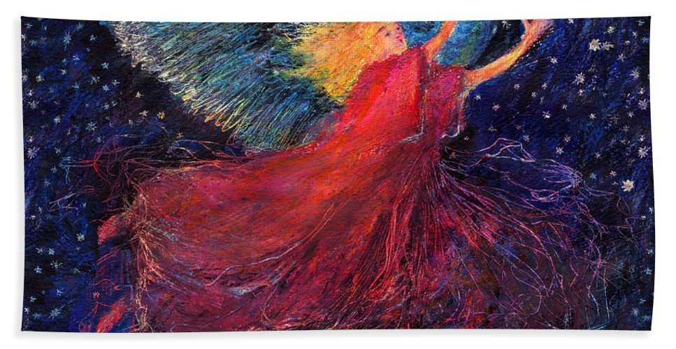 Angel Bath Towel featuring the painting Starry Angel by Diana Ludwig