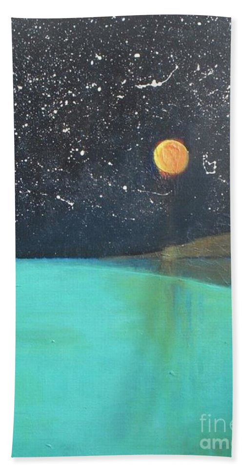 Starry Sky Bath Sheet featuring the painting Starry Sky Above The Ocean by Vesna Antic