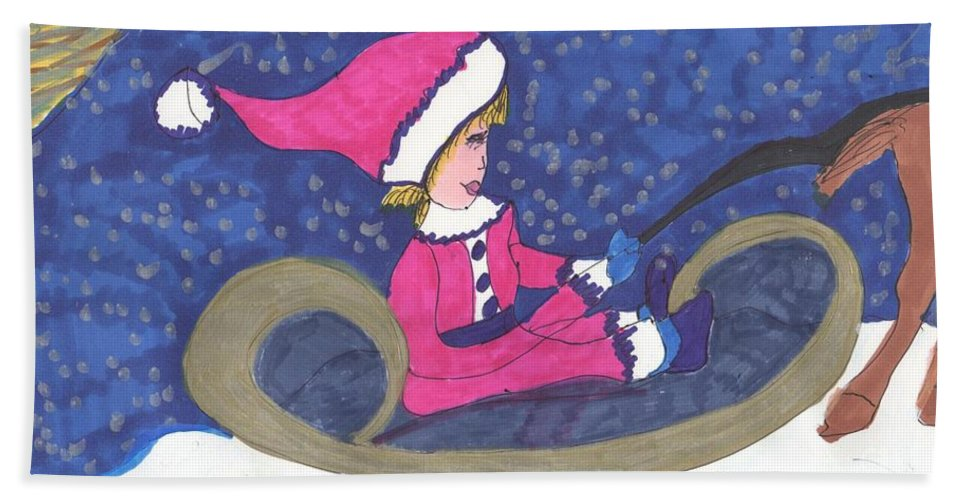 Small Lady Riding A Sleigh Driven By A Horse Bath Sheet featuring the mixed media Starry Sleigh Ride by Elinor Helen Rakowski