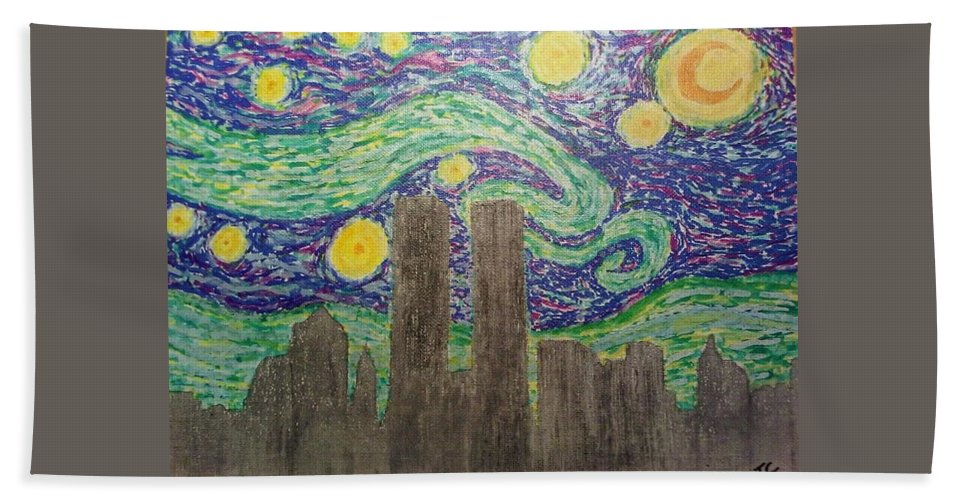 Van Gogh Hand Towel featuring the painting Starry Towers by John Cunnane