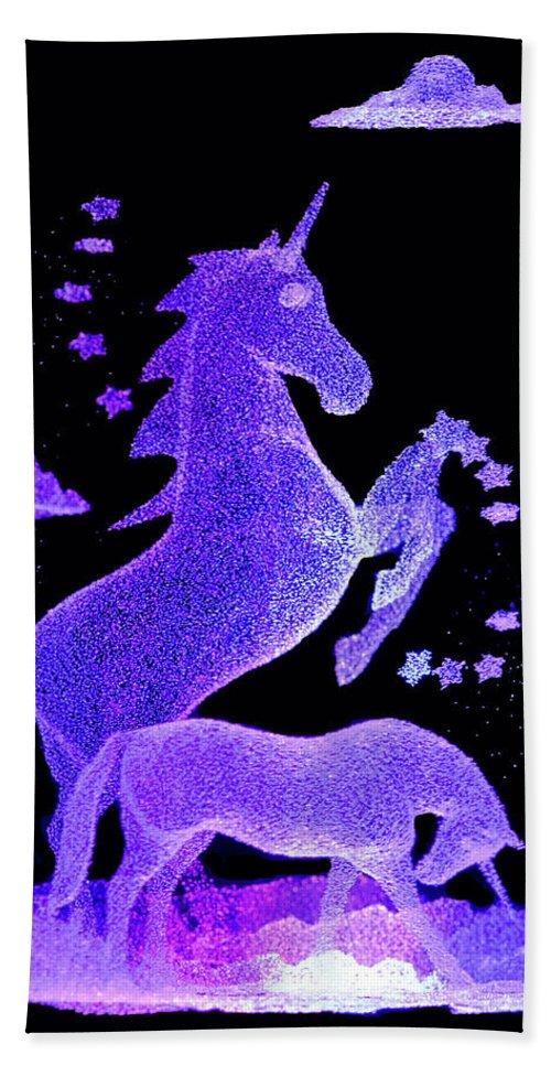 Unicorns Hand Towel featuring the photograph Starry Unicorns by Eleanor Bortnick