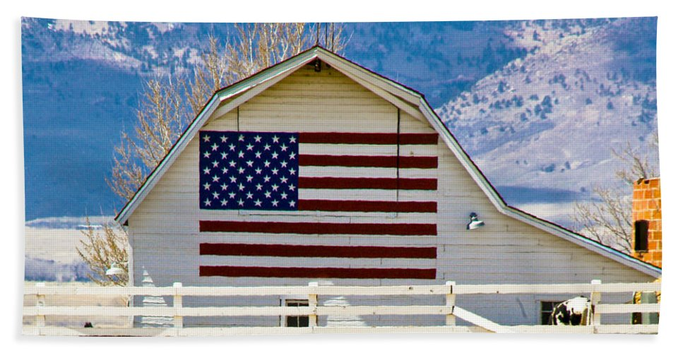 Barn Hand Towel featuring the photograph Stars Stripes And Barns by Marilyn Hunt