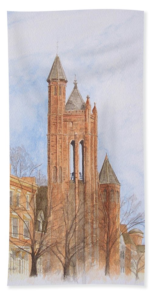 Gothic Bath Sheet featuring the painting State Street Church by Dominic White