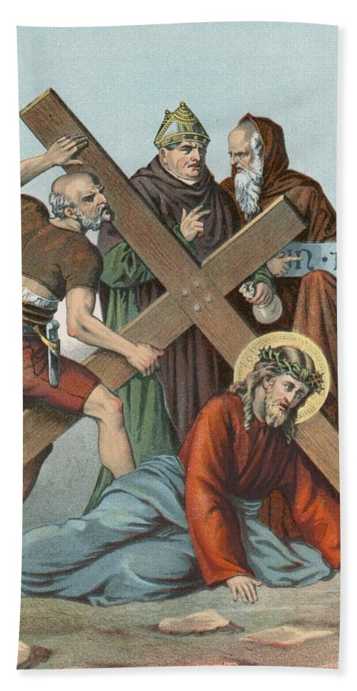 Catholic; Bible; Religion; Truth; Station Ix; Jesus Falls; Cross; Time Bath Sheet featuring the painting Station Ix Jesus Falls Under The Cross The Third Time by English School