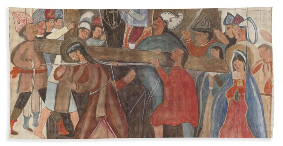 """Hand Towel featuring the drawing Station Of The Cross No. 5: """"jesus Is Assisted In Carrying His Cross by William Herbert"""