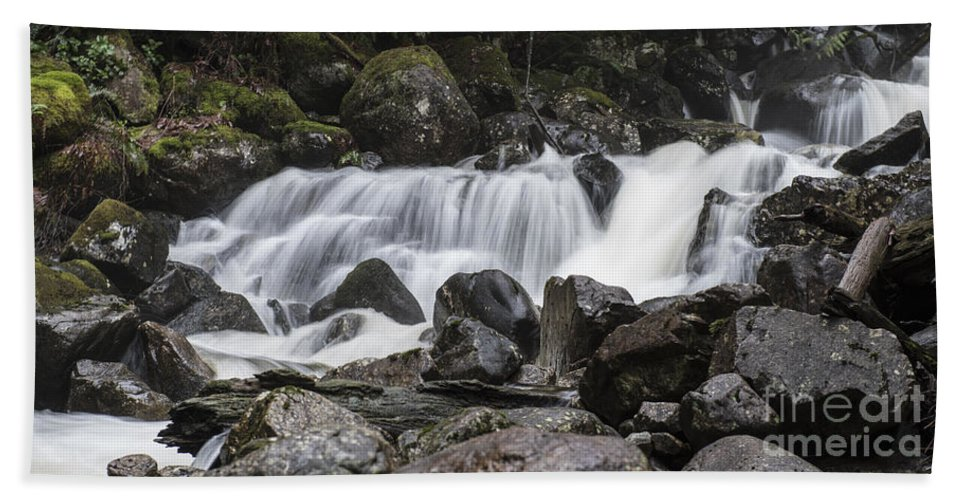 Waterfall Hand Towel featuring the photograph Stave Falls by Rod Wiens