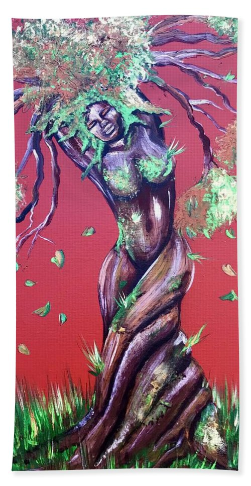 Tree Bath Towel featuring the painting Stay Rooted- Stay Grounded by Artist RiA