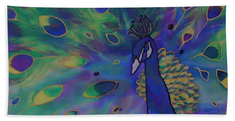 Peacock Bath Sheet featuring the painting Stealing The Show by Joanne Smoley