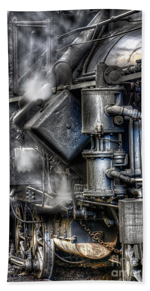 Antiquated Bath Sheet featuring the photograph Steam Engine Detail by Jerry Fornarotto
