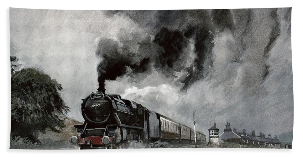 Signal; Station; Hut; Railway; Tracks; Smoke; Cloud; Clouds; Train; Landscape Bath Towel featuring the painting Steam Train At Garsdale - Cumbria by John Cooke