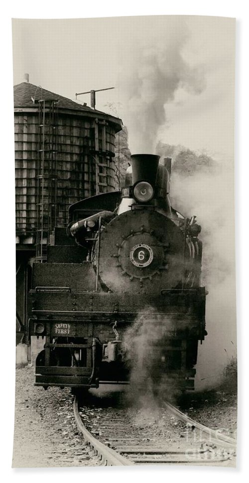 Antiquated Bath Sheet featuring the photograph Steam Train by Jerry Fornarotto