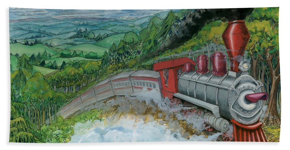 Train Bath Sheet featuring the painting Steam Train by Kevin Middleton