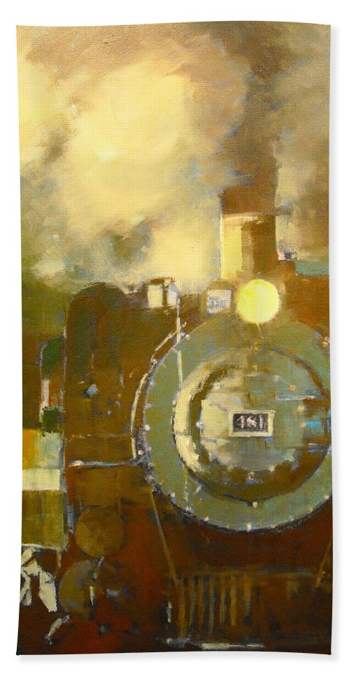 Steam Locomotive Bath Sheet featuring the painting Steaming Up Mining Country by R W Carlson