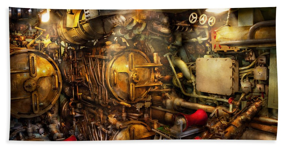 Steampunk Bath Sheet featuring the photograph Steampunk - Naval - The Torpedo Room by Mike Savad