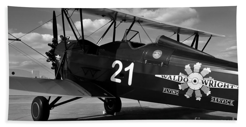 Stearman Hand Towel featuring the photograph Stearman Biplane by David Lee Thompson