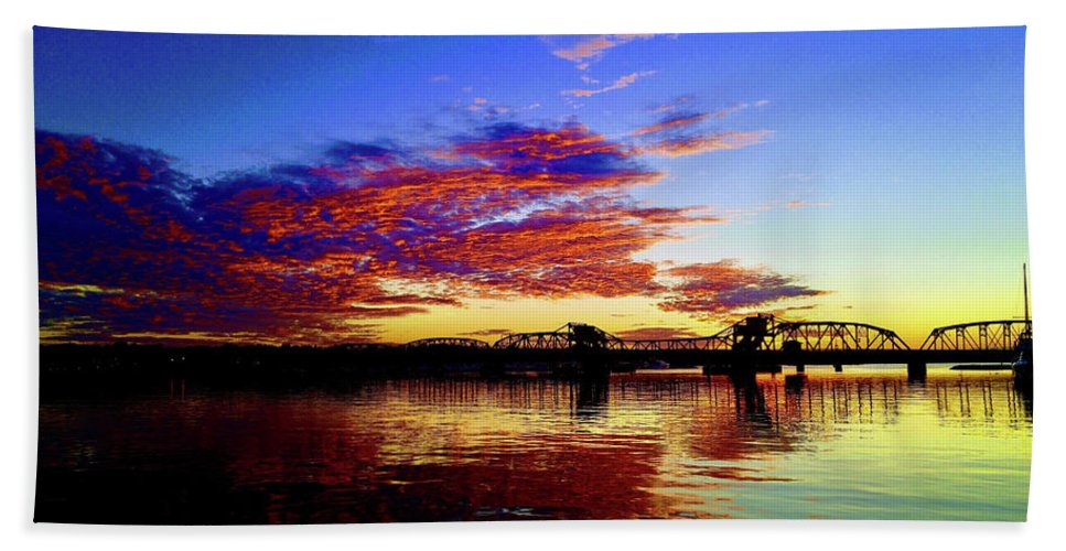Sunset Hand Towel featuring the photograph Steel Bridge Sunset Silhouette by Alex Sowinski