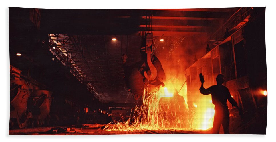 Steel Mill Bath Sheet featuring the photograph Steel Mill--china by Steve Williams