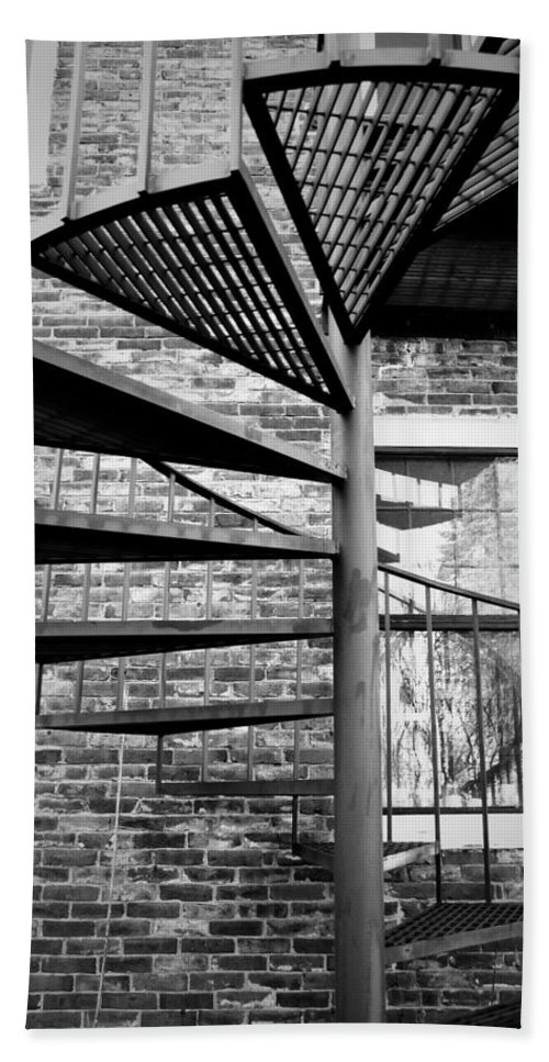 Brick Hand Towel featuring the photograph Steel Spiral by Greg Fortier