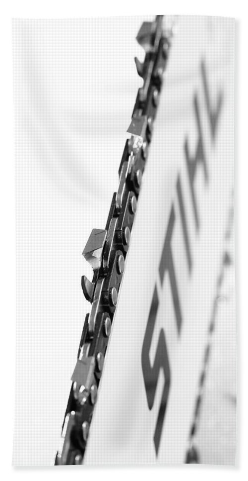 Bar Hand Towel featuring the photograph Steel Stihl Bar by David Andersen
