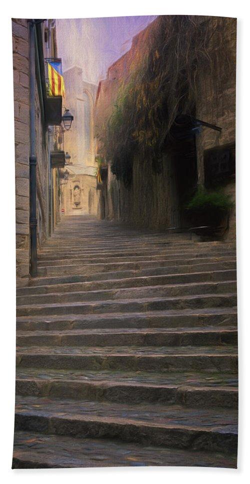 Joan Carroll Hand Towel featuring the photograph Steep Steps Of Girona by Joan Carroll