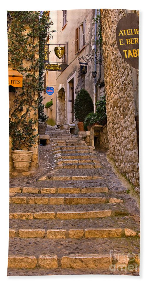 Travel Hand Towel featuring the photograph Steep Street In St Paul De Vence by Louise Heusinkveld