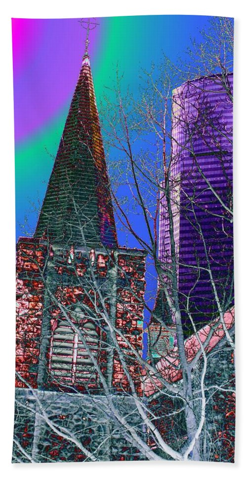 Seattle Bath Towel featuring the digital art Steeple And Columbia by Tim Allen