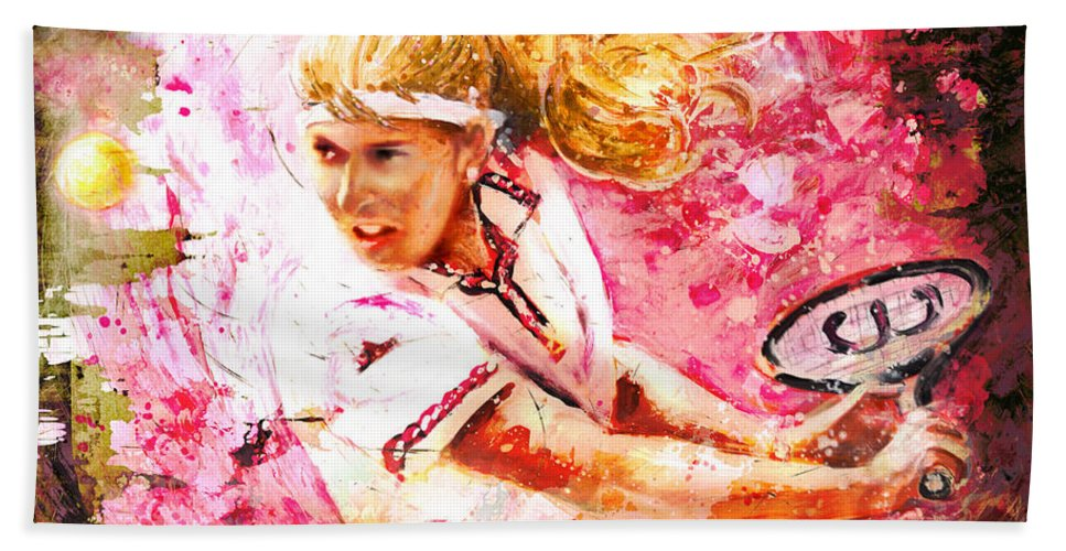 Sport Hand Towel featuring the painting Steffi Graf Madness by Miki De Goodaboom