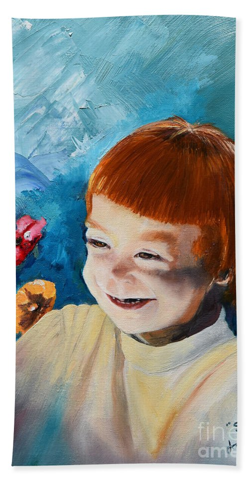 Daughter Hand Towel featuring the painting Stefi- My Trip To Holland - Red Headed Angel by Jan Dappen