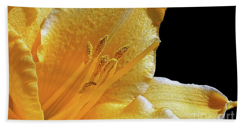 Photography Bath Sheet featuring the photograph Stella D'oro - Day Lily by Kaye Menner