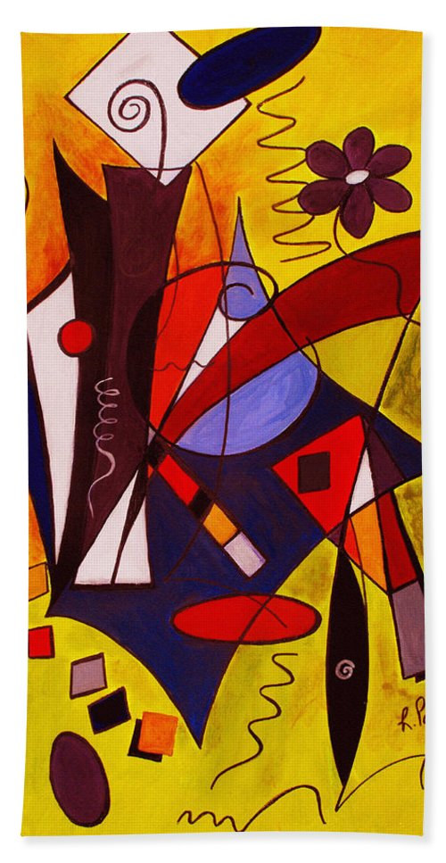 Abstract Bath Sheet featuring the painting Step Lively Now by Ruth Palmer