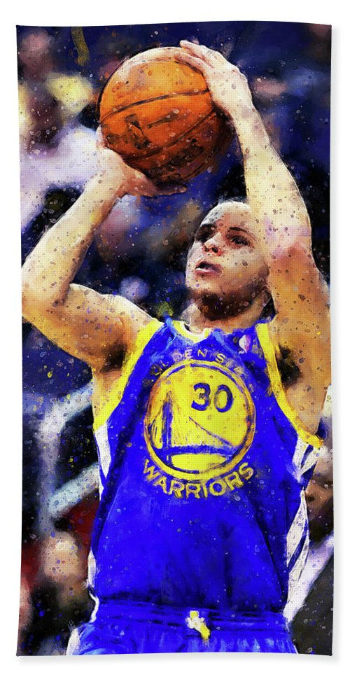 Steph Bath Sheet featuring the painting Steph Curry, Golden State Warriors - 19 by Andrea Mazzocchetti