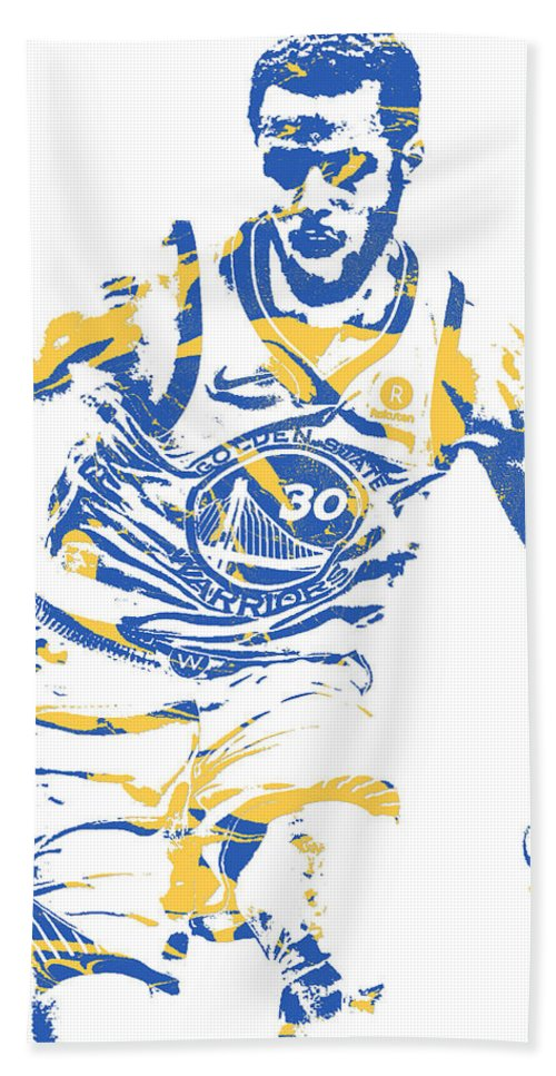 Stephen Curry Bath Towel featuring the mixed media Stephrn Curry Golden State Warriors Pixel Art 81 by Joe Hamilton