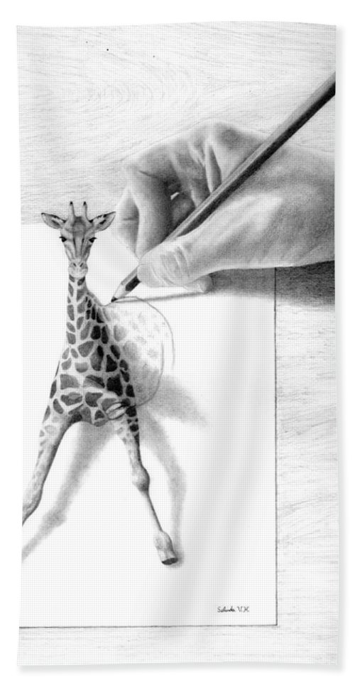 Giraffe Hand Towel featuring the drawing Stepping Out by Selinda Van Horn