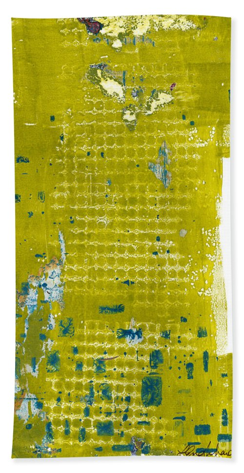 Abstract Bath Sheet featuring the painting Stepping Stones 1 by Laurel Englehardt